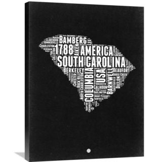 Naxart Studio 'South Carolina Black and White Map' Stretched Canvas Wall Art