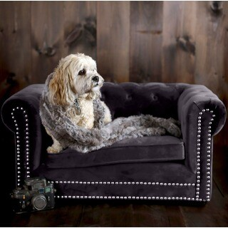 Husky Grey Velvet Tufted Couch Pet Bed with Nailhead Trim
