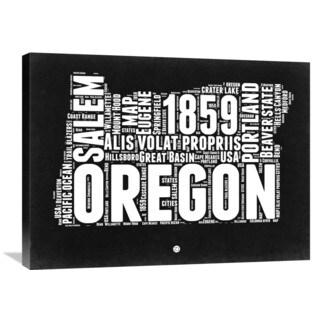 NAXART Studio 'Oregon Black and White Map' Stretched Canvas Wall Art