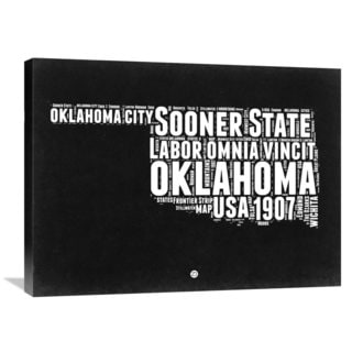 Naxart Studio 'Oklahoma Black and White Map' Stretched Canvas Wall Art