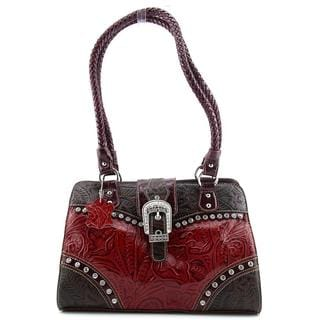 Madi Claire Women's 'Betsy Satchel' Red/Brown Leather Handbag