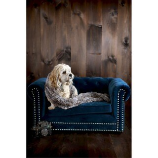 Husky Navy Blue Velvet Tufted Couch Pet Bed with Nail-head Trim