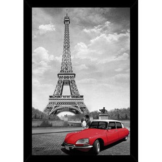 Paris Kiss 24-inch x 36-inch Print With Black Wood Frame