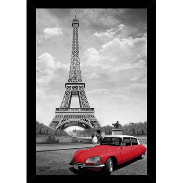 'Paris Kiss' 24-inch x 36-inch Print with Black Contemporary Poster Frame