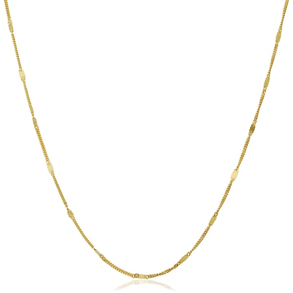 Fremada 10k Yellow Gold Infinity Plaque Station Necklace (18-24 inches)
