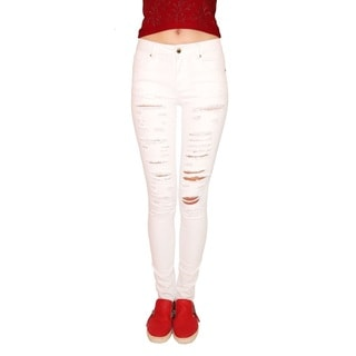 Juniors' White Ripped Stretch Skinny Jeans