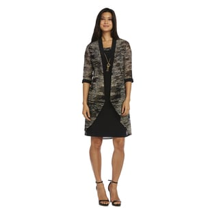 R&M Richards Women's Black/Gold Nylon/Spandex Jacket Dress