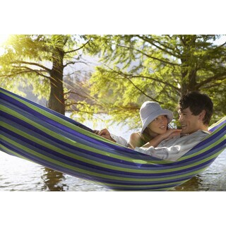 Sorbus Brazilian Green/Blue Striped Cotton Two-person Hammock