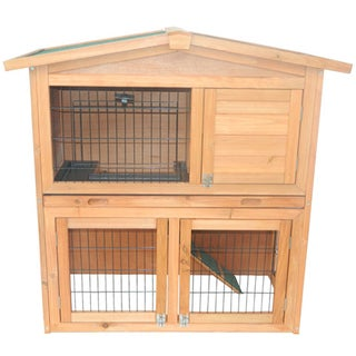 Pawhut 40-inch Wooden Rabbit Hutch/Small Animal House Pet Cage