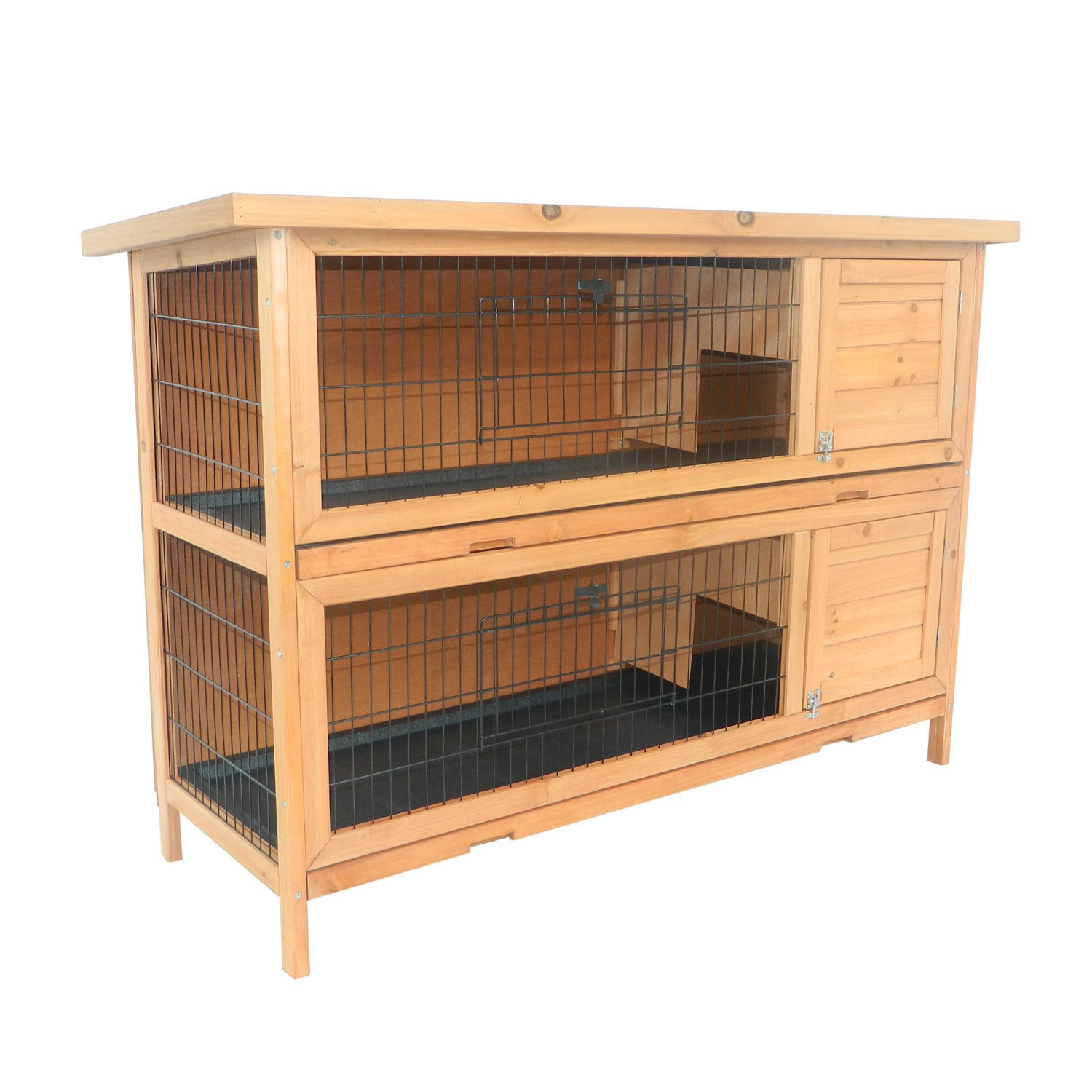 Aosom Pawhut Brown Wood 2-story Stacked Outdoor Rabbit Hu...
