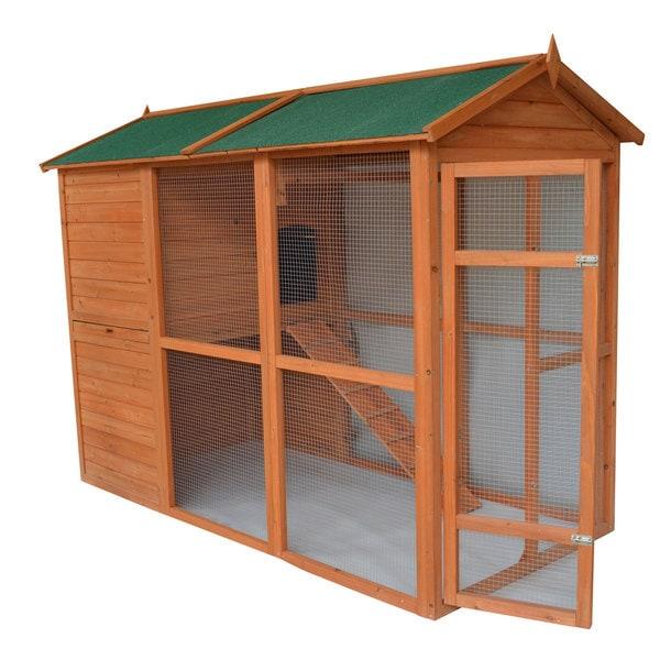 Pawhut Deluxe Large Backyard En Coop Hen House With Outdoor Run Brown Green
