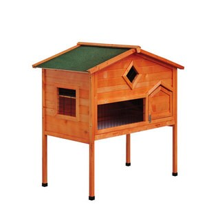 Pawhut Brown Wooden Bunny Rabbit Hutch with Loft