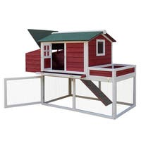 "Pawhut 63-inch Wood Farmhouse Chicken Coop with Display Top, Run Area, and Nesting Box - 43.3""h x 63""w x 31.5""d"