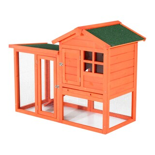 Pawhut 48-inch Orange Wooden Chicken Coop with Ladder and Outdoor Run