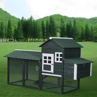 Pawhut Green Wooden Backyard Poultry Hen House/Chicken Coop