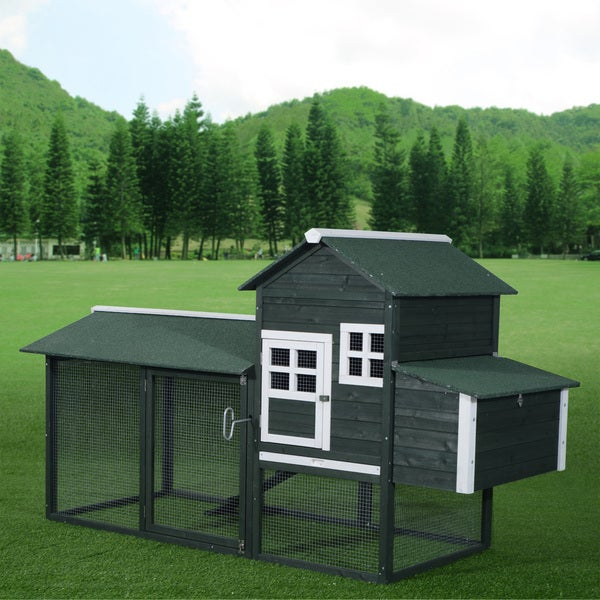 Pawhut green wooden backyard poultry hen house chicken for Big cute houses