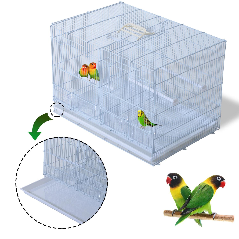 Pawhut 23-Inch Bird Birdcage - White (Medium bird cage wh...