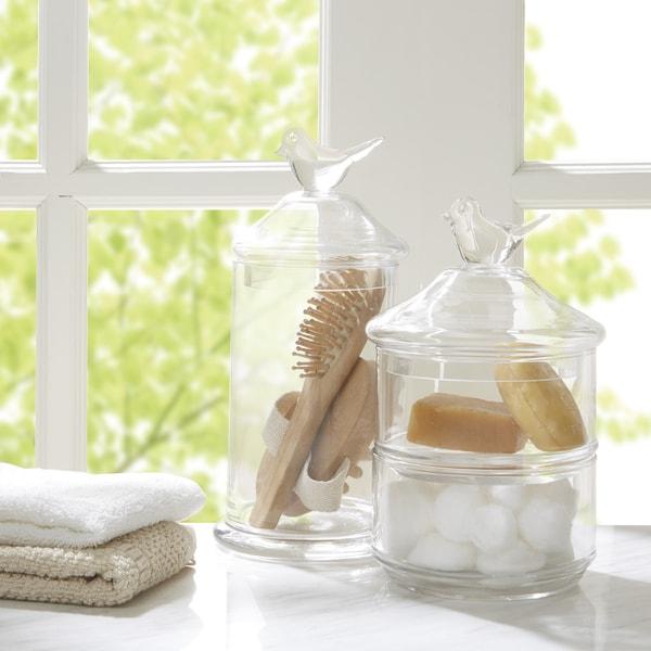 Shop madison park bird top glass 2 piece bath accessory - Madison park bathroom accessories ...