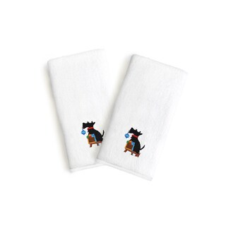 Authentic Hotel and Spa 2-piece Turkish Cotton Hand Towels with Holiday Scottie Dog Embroidery (Set of 2)