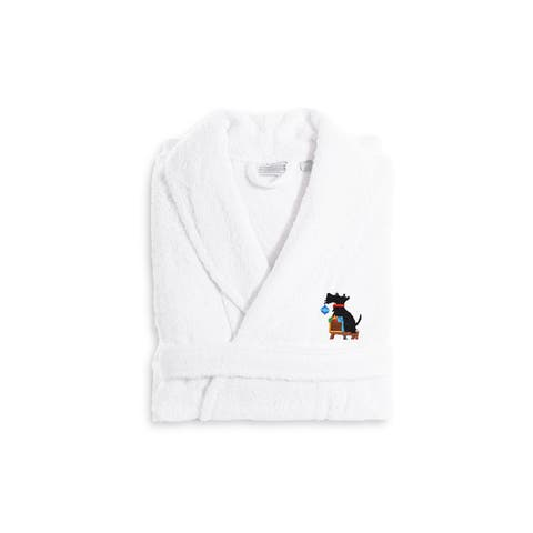 Authentic Hotel and Spa Holiday Scottie Dog Terry Cloth Turkish Cotton Bath Robe