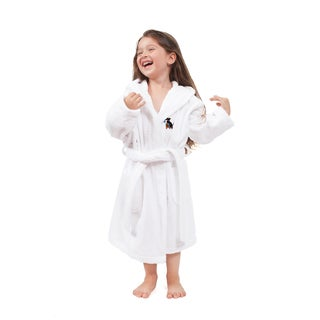 Sweet Kids White Turkish Cotton Hooded Terry Bathrobe with Embroidered Holiday Scottie Dog