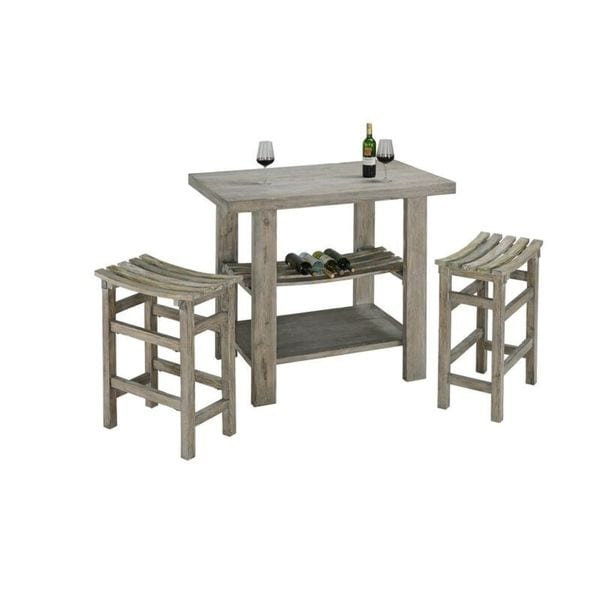 Progressive Furniture Grey Distressed Wood Bar Table