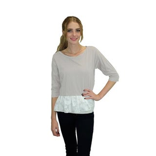 Relished Women's Fog Grey Cotton Peplum Top