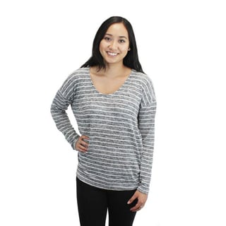 Relished Women's Grey Cotton and Polyester Striped Dolman Sweater Top