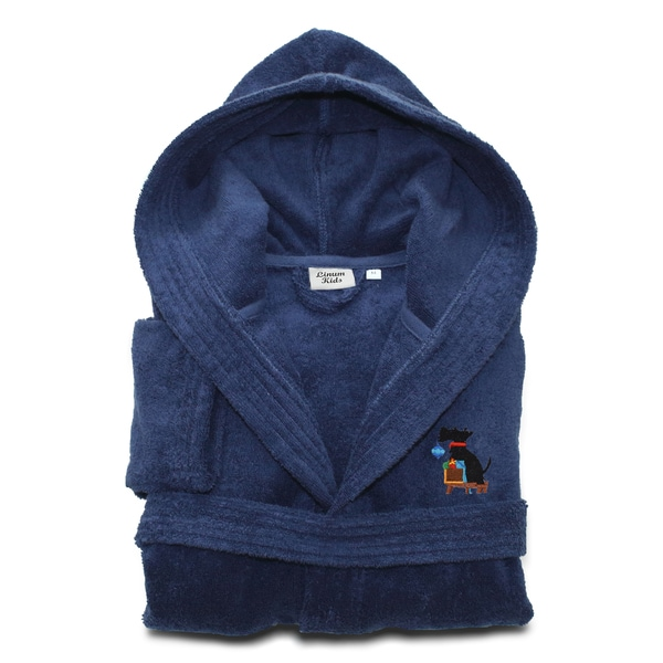 Sweet Kids Midnight Blue Turkish Cotton Hooded Terry Bathrobe with Embroidered Holiday Scottie Dog