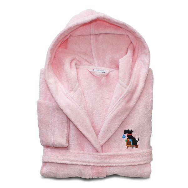 Sweet Kids Pretty Pink Turkish Cotton Hooded Terry Bathrobe with Embroidered Holiday Scottie Dog