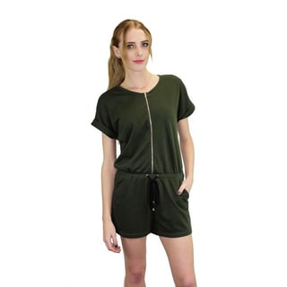 Relished Women's Olive Green French Terry Zip Romper