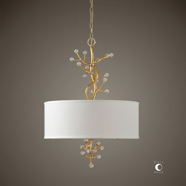 Bede 3 Light Pendant - White/Gold