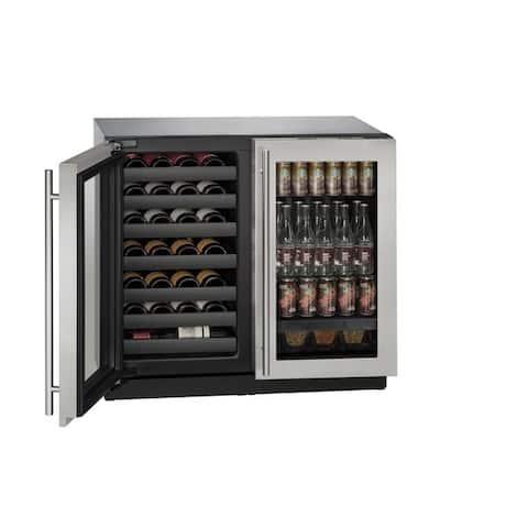 U-Line 3000 Series 3036BEV - 36 Inch Stainless Steel Beverage Center / Wine Cooler w/ Lock