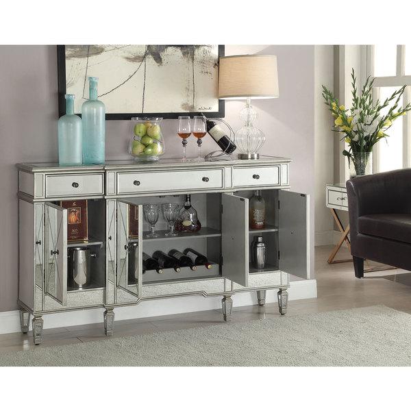 Coaster Company Silver Mirrored Finish Wine Cabinet Free