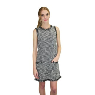 Relished Women's Grey Cotton/Polyester Sleeveless Pocket Sweater Dress