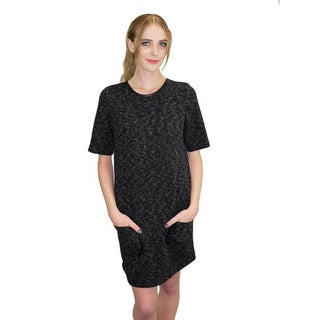 Relished Women's Charcoal Polyester Pocket Shift Dress