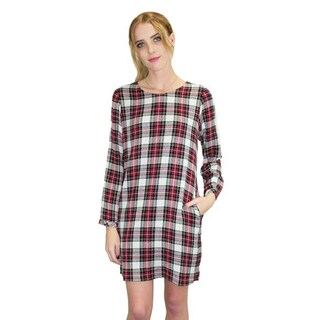 Relished Women's Red Rayon and Polyester Plaid Shirt Dress
