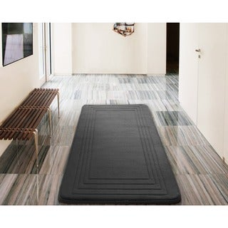 VCNY Hotel Bordered Foam Cushioned Microfiber Bath Rug (24 x 60 inches)