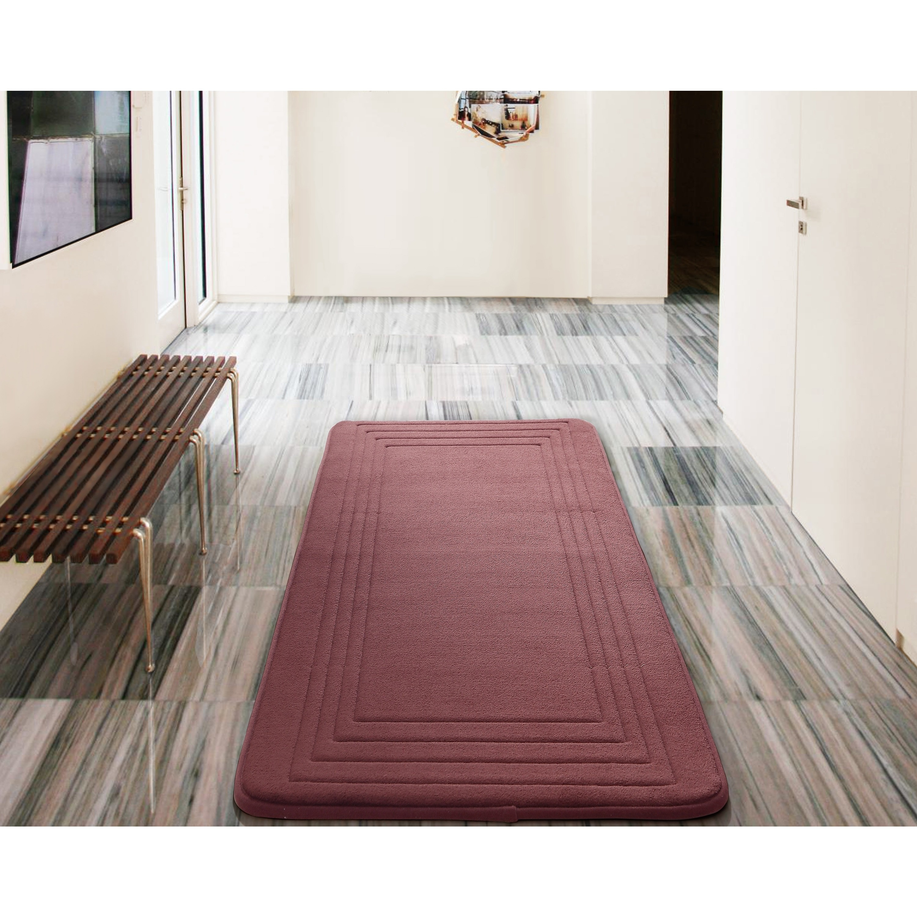 Extra Long Reversible Bath Rug Runner 2 ft Bathroom Mat Cotton Taupe x 5 ft