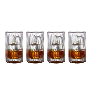Fitz and Floyd Augusta Clear Glass Set of 4 11.3-ounce Highball Glasses
