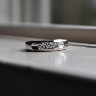 14k White Gold Men's 3/4ct TGW White Sapphire 3-stone Channel-set Ring