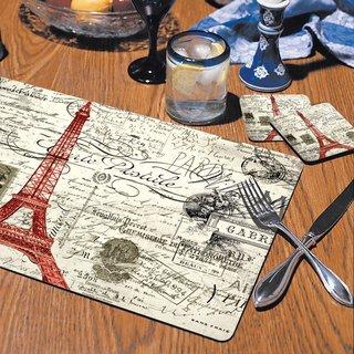 CounterArt Vintage Paris Hardboard Placemat, Set of 2
