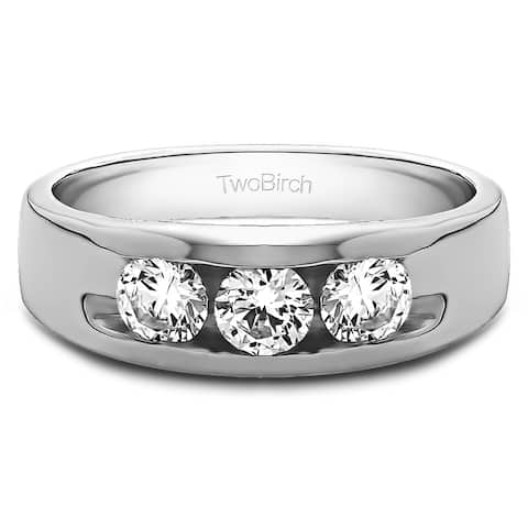TwoBirch Sterling Silver Men's 1/3ct TDW 3-stone Channel Set Wedding Band