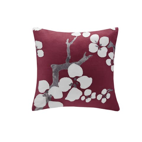 N Natori Cherry Blossom Red Square Pillow