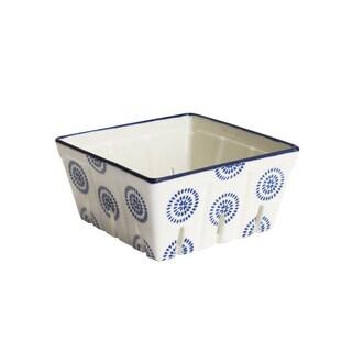 American Atelier Ceramic Round Blue Stamp Kitchen Berry Basket