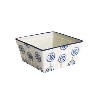 American Atelier Ceramic Round Blue Stamp Kitchen Berry Basket