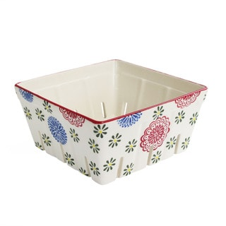 Red and Blue Ceramic Square Kitchen Berry Basket