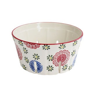 American Atelier Round Red/Blue Ceramic Berry Basket