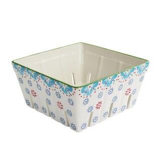 American Atelier Ceramic Blue Square Kitchen Berry Basket