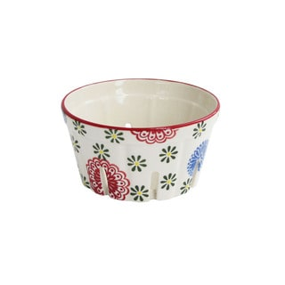 Ceramic Kitchen Red/Blue Ceramic Berry Basket